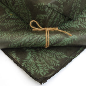 Green Natural Dye with Bunched Sirus Leaf Print